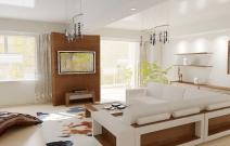 Квартира в современном минималистическом стиле.  Гостиная с белой мебелью.