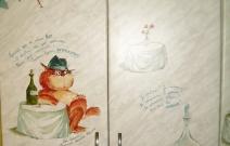 Роспись мебели в кухне. Частная квартира. Фрагмент