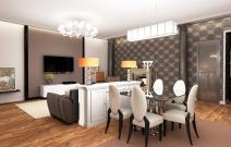 Квартира в стиле фъюжн. Кухня. Гостиная