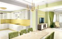 Квартира для молодой пары. Гостиная и кухня в другом цветовом решении.